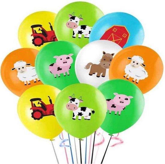 10 stuks ballonnen boerderij dieren multicolor