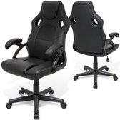 LifeGoods Game Stoel - Bureaustoel - Volwassenen/Kind - Verstelbare Zithoogte - Kantoor/Thuis /Gaming - Kunstleer - Zwart