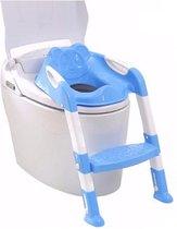Toilet Trainer met Trapje Bril Verkleiner met Handvaten Opvouwbaar WC Bril Toilettrainer Peuter Kleuter Blauw