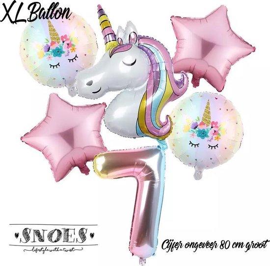 * Snoes * Unicorn * Eenhoorn * Set van 6 Ballonnen XL * Unicorn Nummer 7 Licht Roze * Zevende verjaardag * Hoera 7 Jaar * Birthday