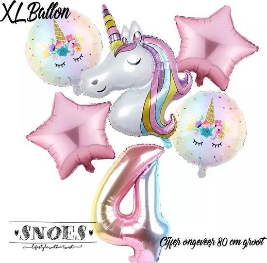 * Snoes * Unicorn * Eenhoorn Licht Roze* Set van 6 Ballonnen XL * Unicorn Nummer 4 * Vierde verjaardag * Hoera 4 Jaar * Birthday