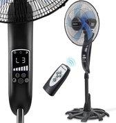 LifeGoods Statiefventilator - 50W - 80° Oscillerend - Timer - Afstandsbediening - Geruisloos 53dB - Zwart