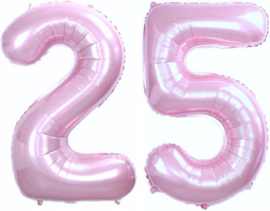 Ballon Cijfer 25 Jaar Roze Verjaardag Versiering Cijfer Helium Ballonnen Roze Feest Versiering 86 Cm Met Rietje