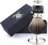 Haryali Met de hand geassembleerde Sophist Collection Zwart Originele Hair Scheerkwast met Duitse roestvrijstalen draadstandaard (Shaving Brush with Stand)