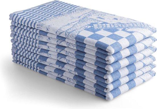 Seashell Oerhollands Theedoeken Set - 6 Theedoeken - Blauw molen patroon - 65x65cm