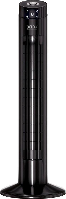 CoolFan CF201 -Stille Torenventilator - Statiefventilator met Ionic Luchtreiniger - Afstandsbediening - ventilator staand - Zwart