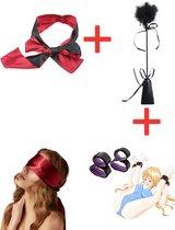 URlife® BDSM- Blinddoek- Inclusief Handboeien & Enkelboeien- Met Zweep met Kietelaar en Paddle- Bondage Set- Masker- Erotiek Toys- Rood/Zwart