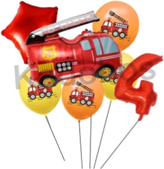 Brandweer folie ballonnen set verjaardag 4 jaar - Brandweer ballon 7 delig