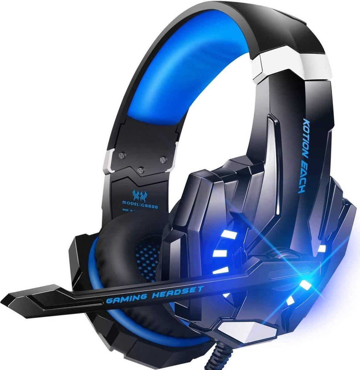KOTION EACH G Gaming Headset - Zwart/Blauw - Geschikt voor PS4, Xbox One, Switch & Windows