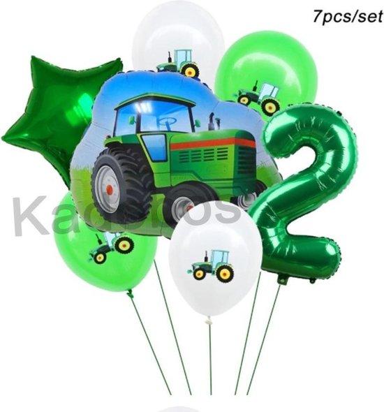 Tractor ballonnen set 2 jaar verjaardag - folie ballonnen 7 delig