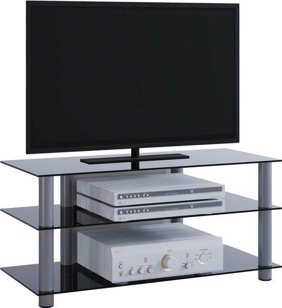 TV meubel Netasa - Aluminium / Zwart glas