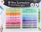 Stiften Decotime mini-twinmarkers - Inkt op alcohol basis - Inclusief handige opbergbox - 18 stuks