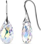 Shoplace ® Oorbellen dames met Swarovski kristallen - 18K Witgoud verguld - Zilveren oorhangers - Druppel -  Swarovski oorbellen - Aurora Borealis - Goudgeel