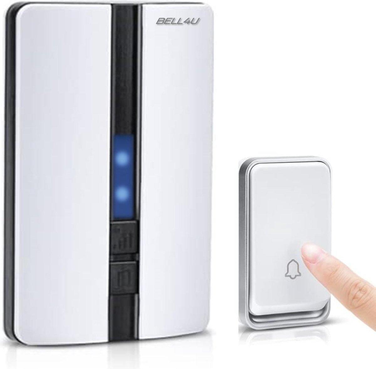 Bell4U Luxe draadloze deurbel, waarbij batterijen niet nodig zijn - plug & play - wit