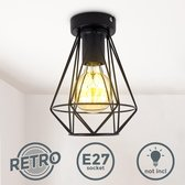 B.K.Licht - Plafondlamp - zwart - industrieel - retro - plafoniere - verlichting - Ø16.5cm - excl. E27