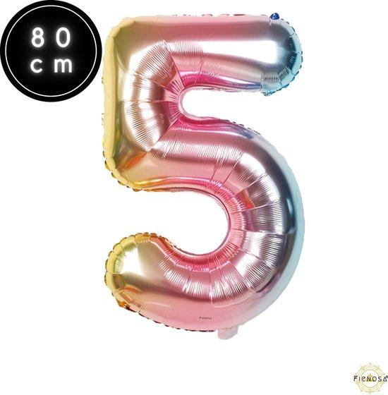 Cijfer Ballonnen - Cijfer Ballon Regenboog - Cijfer 5 Ballon - 82 cm Hoog - Ballonnen Verjaardag - Feestversiering - 50 Jaar - Fienosa
