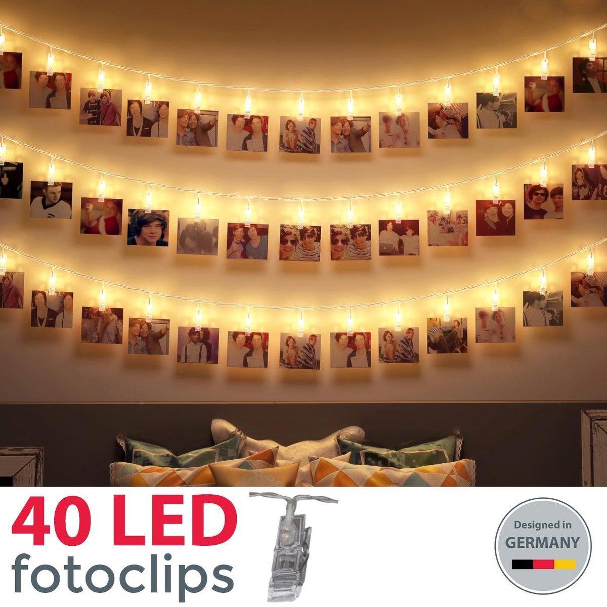B.K.Licht - Foto lichtsnoer - lichtslinger - verlichting - 40 LED - fotoclips - l: 5m - op batterije