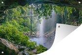 Muurdecoratie - Foto van regenwoud met waterval - 180x120 cm - Tuinposter