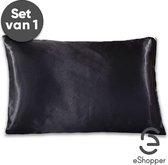 eShopper Satijnen Kussensloop – Beauty – Silk Pillowcase – Anti Allergeen – Haarverzorging – Huidverzorging – Zwart – 60 x 70