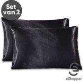 eShopper Satijnen Kussensloop – Beauty – Silk Pillowcase – Anti Allergeen – Haarverzorging – Huidverzorging – Zwart – 60 x 70 – 2 Stuks