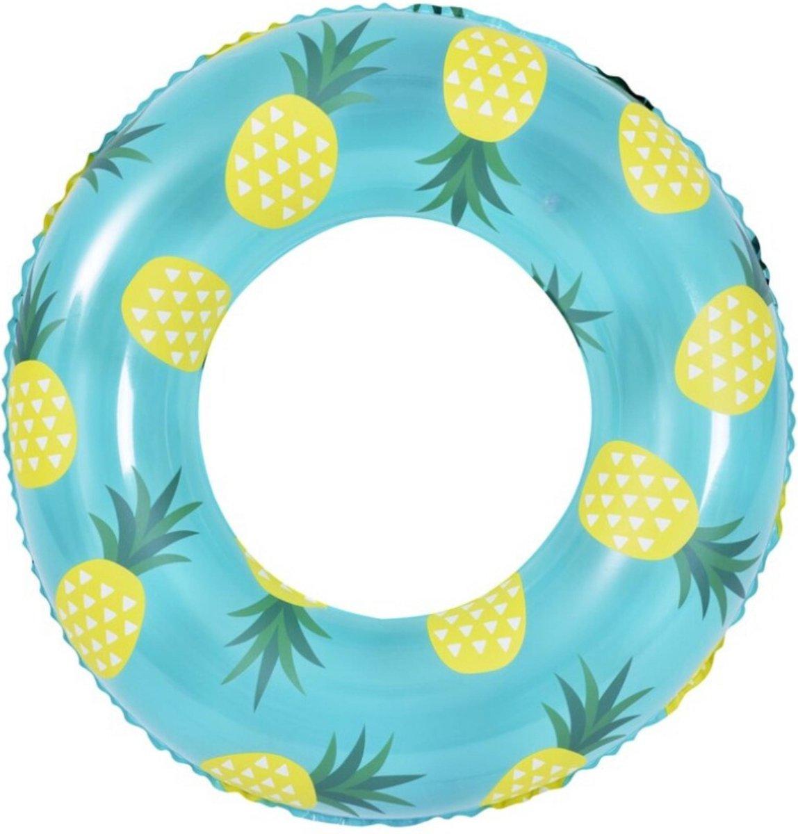 Orange85 Opblaas Zwemband - Ananas - 90 cm - Blauw - Geel - Waterspeelgoed - Opblaasband