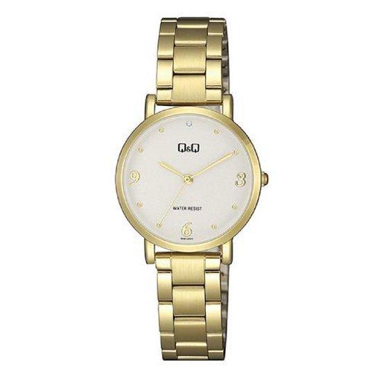 Mooi elegant goudkleurig dameshorloge van Q&Q model qa21j003y 3 atm waterdicht