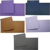 Vierkante Kaarten Set - 13,5 x 13,5 cm - 40 Kaarten en 40 Enveloppen - 5 Kleuren - Maak wenskaarten voor elke gelegenheid