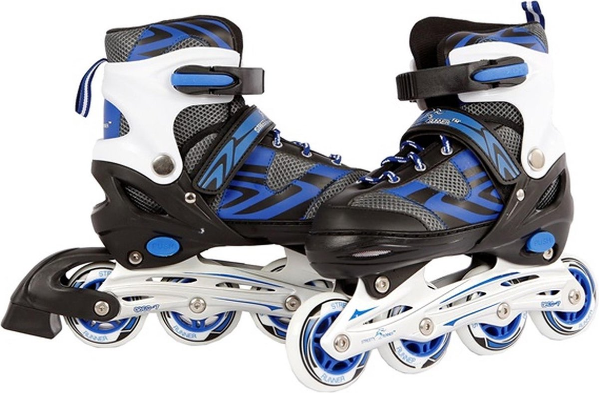 Inline skates blauw/zwart verstelbaar - Skeelers maat 35-38