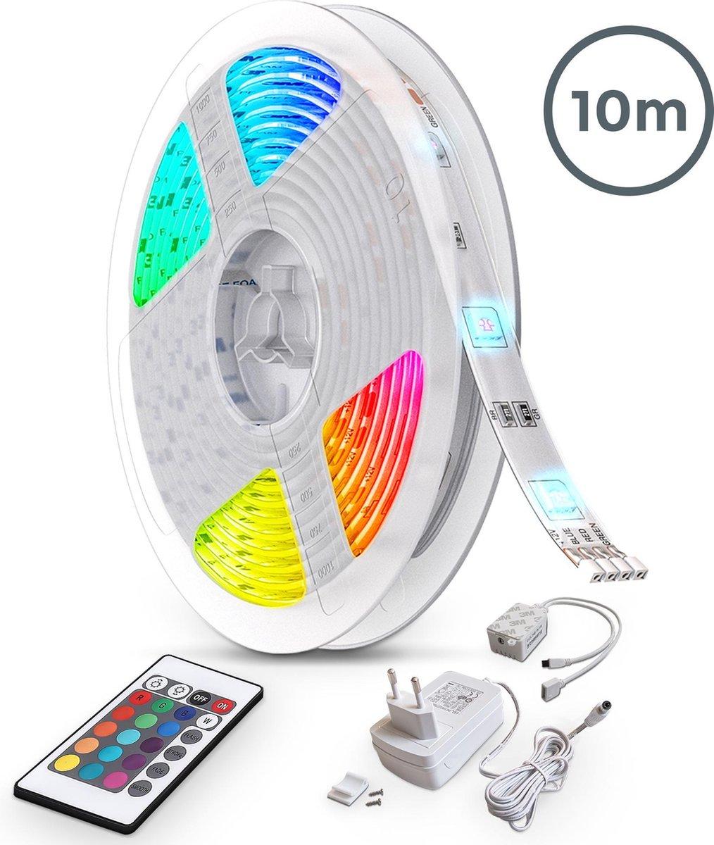 B.K.Licht - 10 meter Led Strip met Afstandsbediening - RGB en dimbaar - Led lightstrip zelfklevend