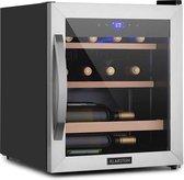 Klarstein Vinamour 12 Uno wijnkoelkast 12 flessen / 46 liter - Temperatuur: 4 tot 18°C - glazen deur met panoramevenster en roestvrijstalen frame