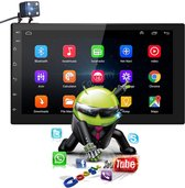 Universele Autoradio met Bluetooth, USB & Youtube - Navigatie - Handsfree Radio met Microfoon - Android met Google Play -7 inch HD Touchscreen - GRATIS Achteruitrijcamera