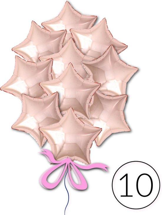 10 Folie Ballonnen Ster Roségoud voor Verjaardag, Feestversiering, Themafeest, Glitter & Glamour Party   Geschikt voor Helium