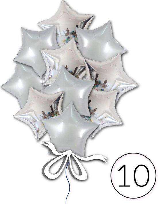 10 Folie Ballonnen Ster Zilver voor Verjaardag, Feestversiering, Themafeest, Glitter & Glamour Party   Geschikt voor Helium