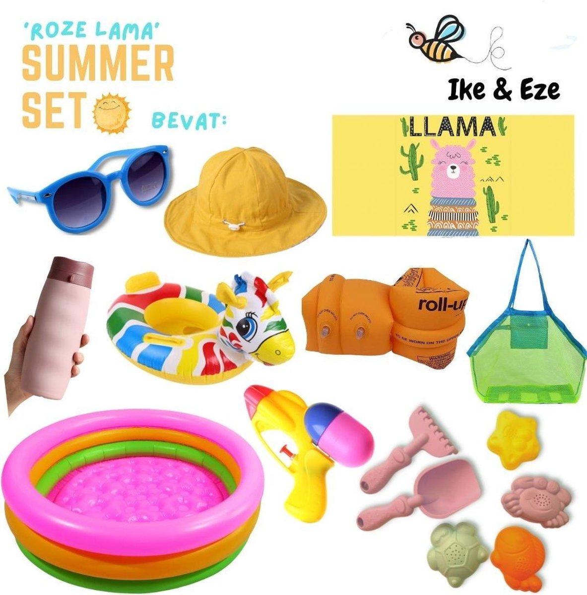 'Roze Lama' Summer Set - Zomer Set - Strandlaken - strandtas - drinkfles - zonnebril - zon hoedje - opblaasbaar zwembad, zwembandjes en zwemband - zandvormpjes - schepje - hakje - waterpistooltje