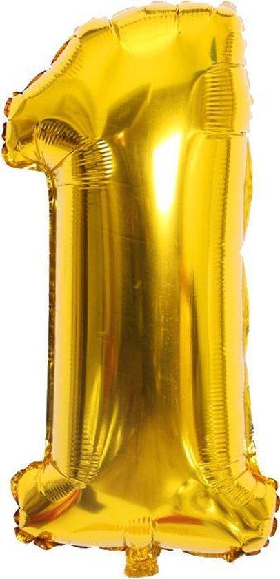 Cijfer ballon 1 jaar Babydouche - Goud Folie helium ballonnen - 100 cm - gouden verjaardag versiering