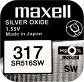 MAXELL 317 / SR516SW zilveroxide knoopcel horlogebatterij 2 (twee) stuks