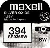 Maxell 394 / SR936SW zilveroxide knoopcel horlogebatterij 2 (twee) stuks