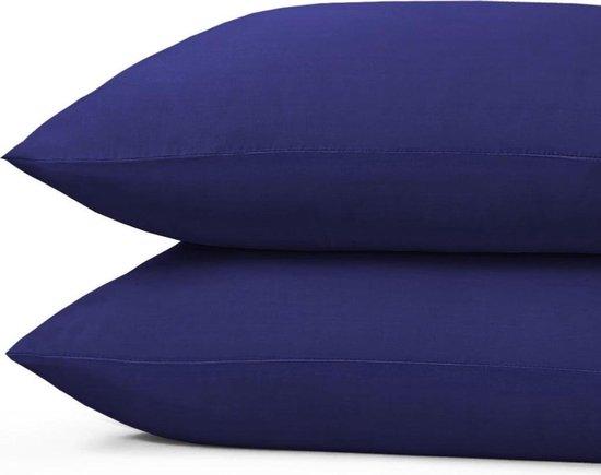 100% Katoen - Kussenslopen - Set van 2 - 60x70 cm - Donker Blauw