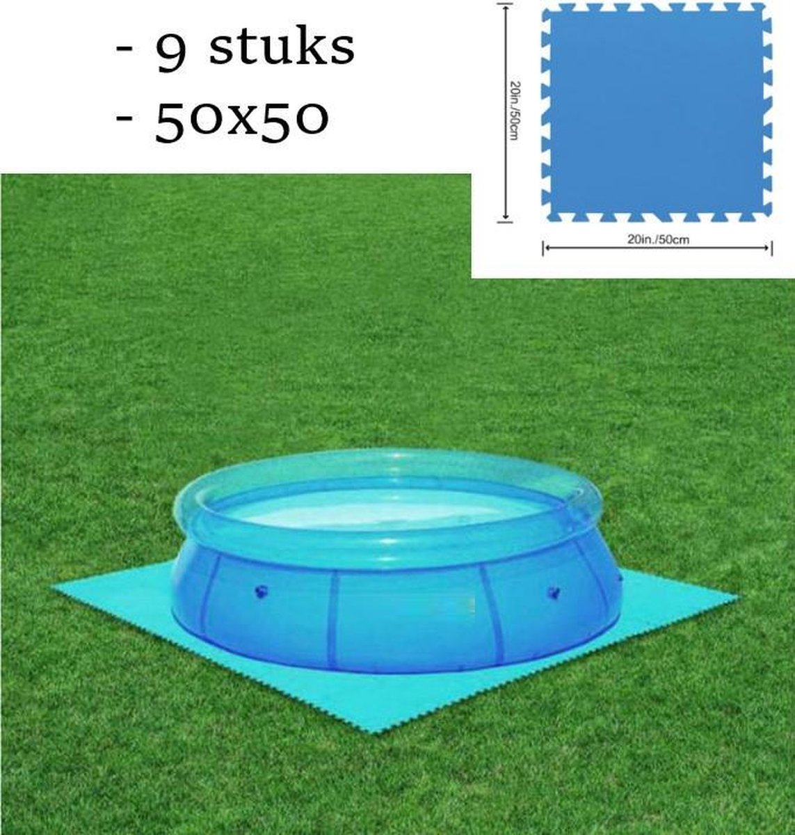 Vemia® Zwembad tegels - 500x500 - 9 stuks - Zwembad ondervloer