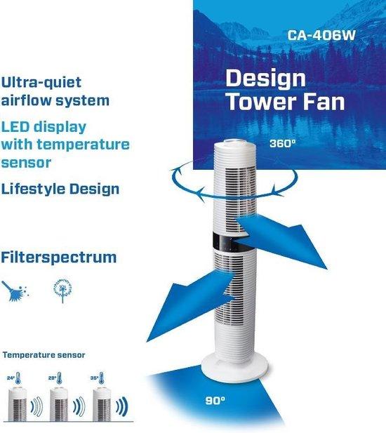 Clean Air Optima® CA-406W - Design Torenventilator - Ventilator met Temperatuursensor