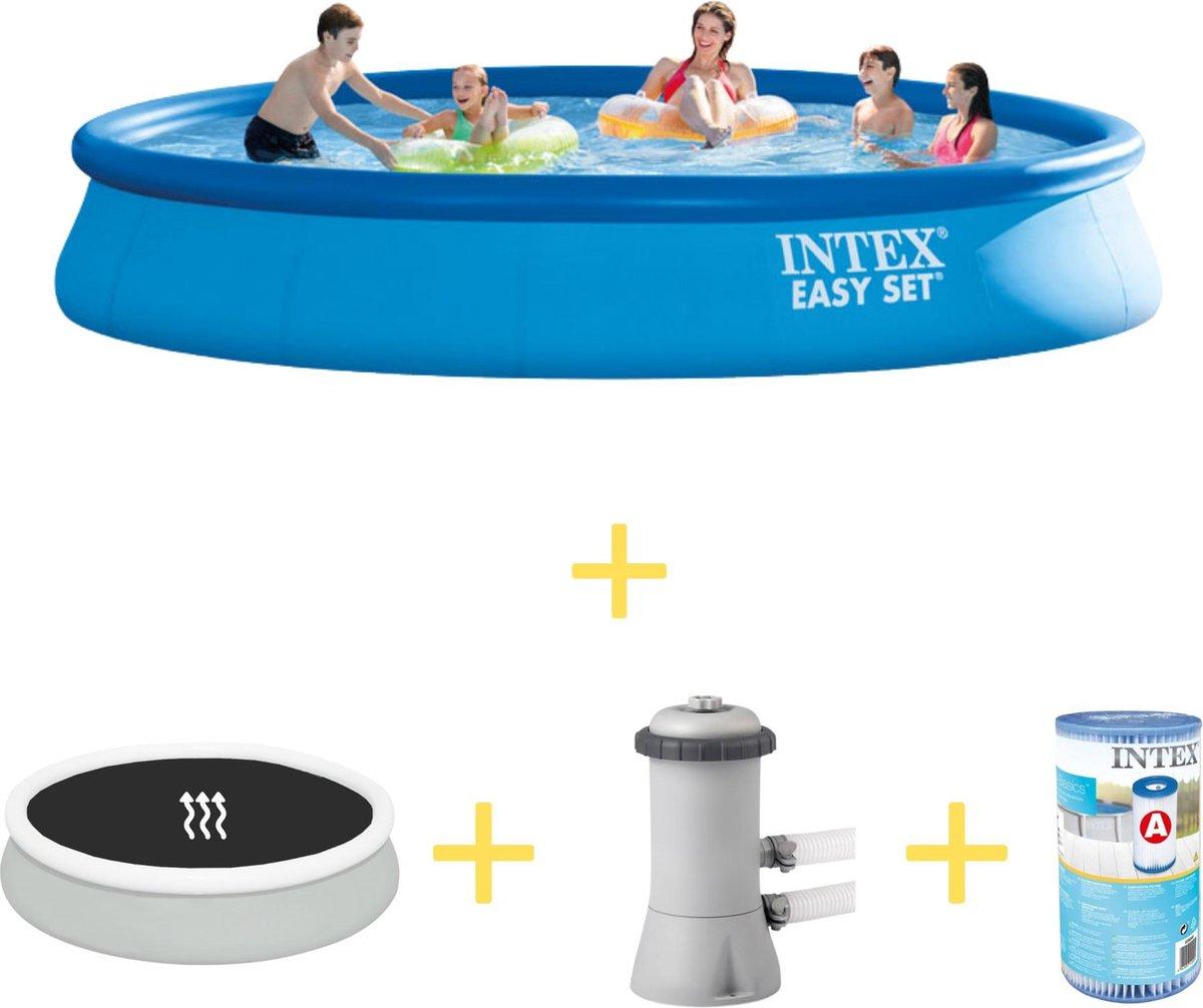 Intex Zwembad - Easy Set - 457 x 84 cm - Inclusief Solarzeil, Filterpomp & Filter
