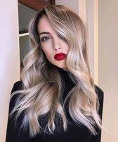 Pro-Care Ombre Antraciet As Blond Golf Kleur Pruik Dames - 70cm Lang Golvend Haar - Wig - Verstelbaar - Vederlicht 195g