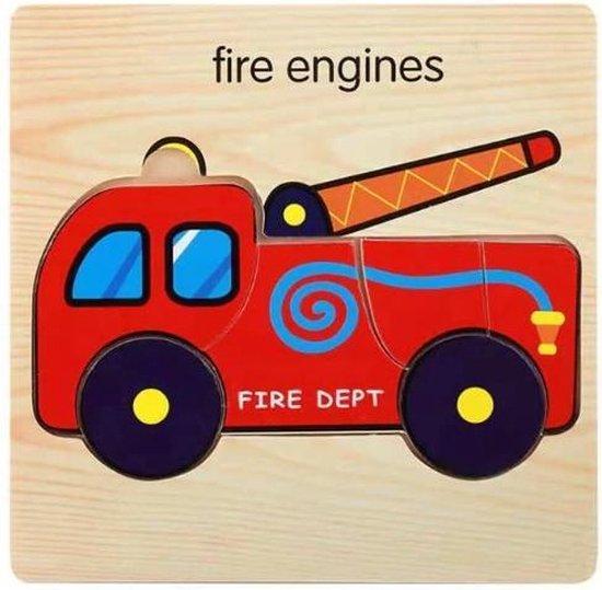 Houten Kinder Puzzel  Brandweer auto  - 0 t/m 4 jaar