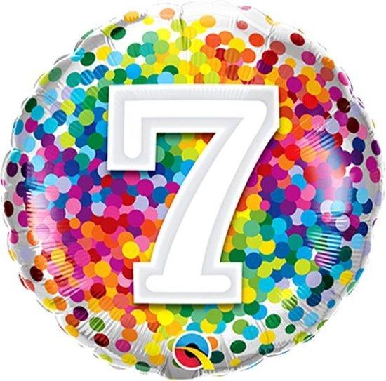 Folieballon Confettiprint Leeftijd 7 - 45 cm