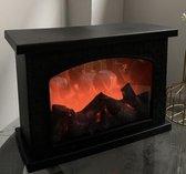 Decoraties – Huisdecoratie/accessoires – Simulatie vlam - Open haard - Sfeerhaard - Elektrische sfeerhaard - Elektrische open haard - 3 LED - Rechthoek - Zwart – Warm licht