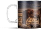 Mok - Twee IJslander paarden bij zonsondergang - 350 ml - Beker