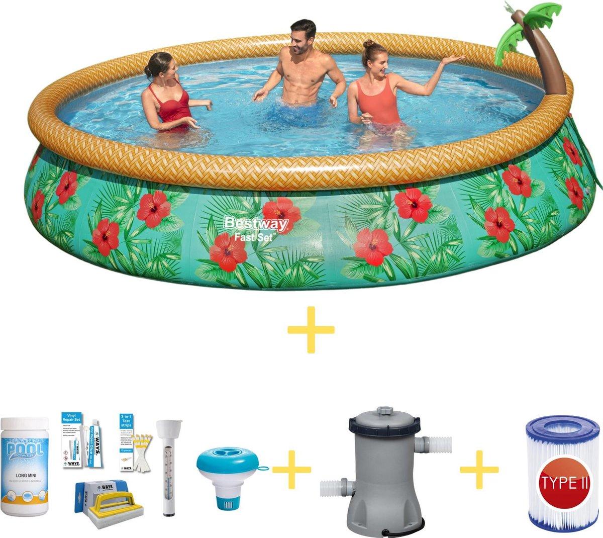 Bestway Zwembad - Fast Set - Paradijs Bloemen - 457 x 84 cm - Inclusief WAYS Onderhoudspakket, Filterpomp & Filter