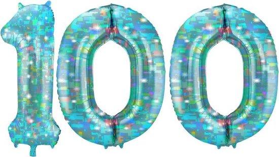 Cijfer 100 Galactic Aqua (86cm)