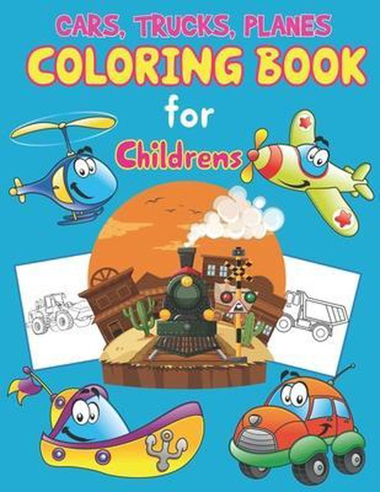 Trucks, Planes and Cars Coloring Book for Children's
