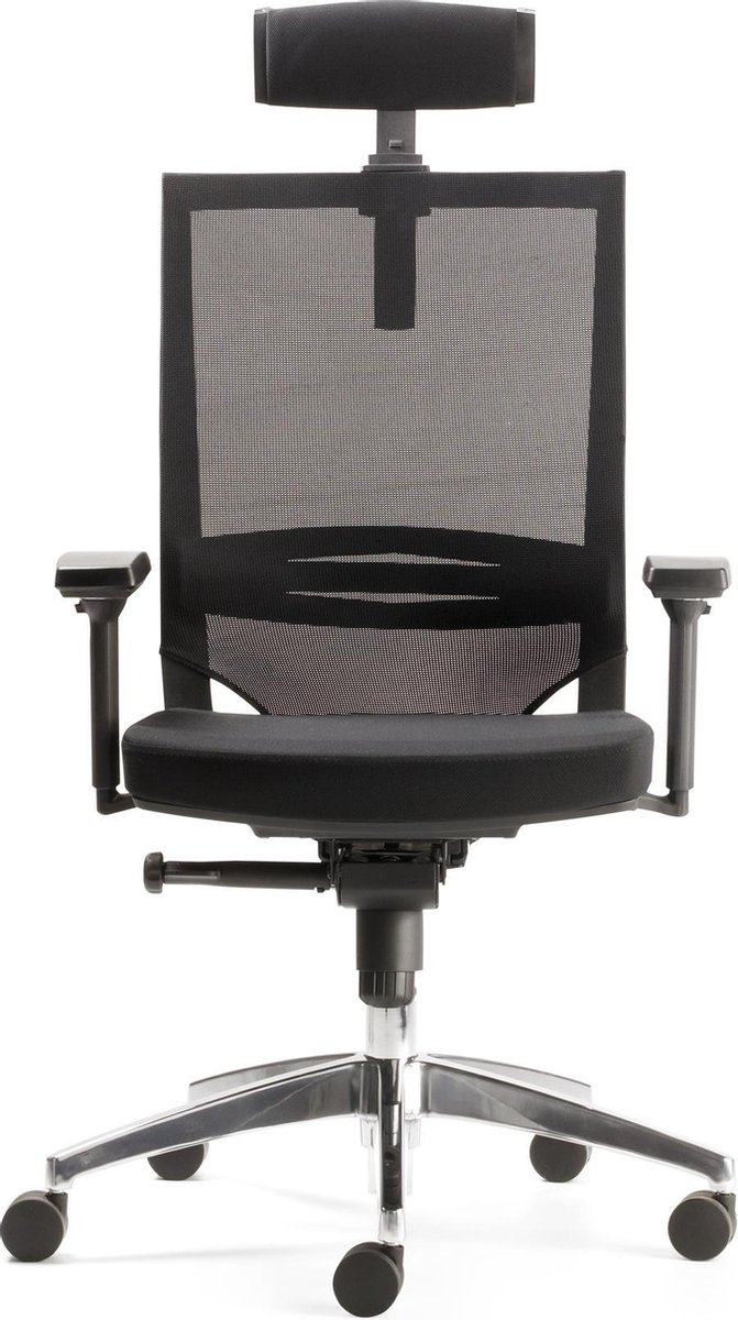 Nancy's Johnston Bureaustoel - Draaistoel - 3D Armleuningen - Mesh - Hoogte/Zitdiepte Verstelbaar - Verstelbare Lendensteun - Gestoffeerd - Blauw - Rood - Zwart - Aluminium - 63 x 48 x 94 - 106 cm